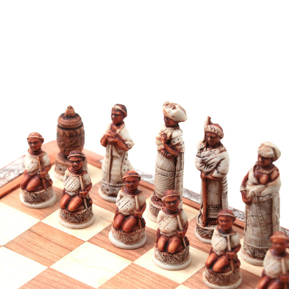 Mini Tribal Chess Set Earthy