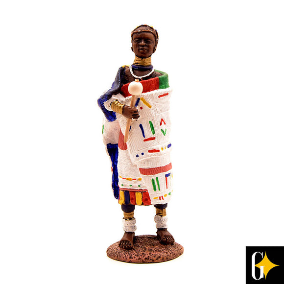 Top view of the figurine depicting an Ndebele person in a white shawl. Buy this African gift now.