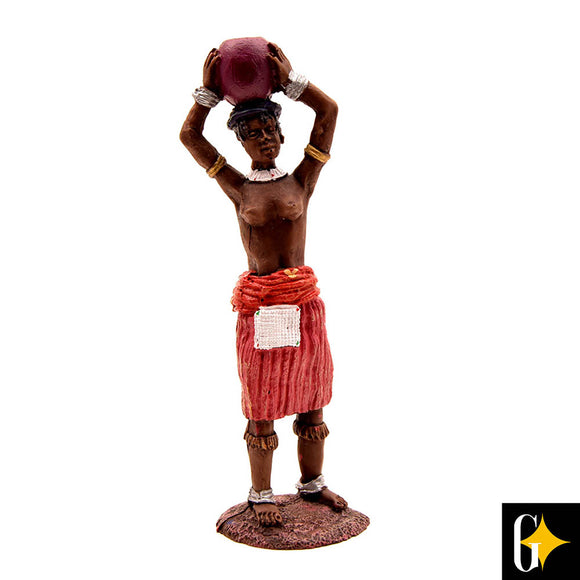 Top view of the figurine depicting a Zulu maiden holding a bowl. Buy this African gift now.