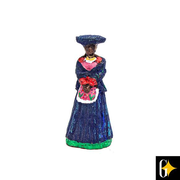 Top view of the Herero woman in blue figurine. Buy this African gift now.