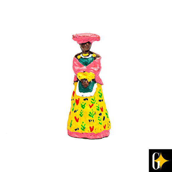 Top view of the Herero woman in yellow figurine. Buy this African gift now.