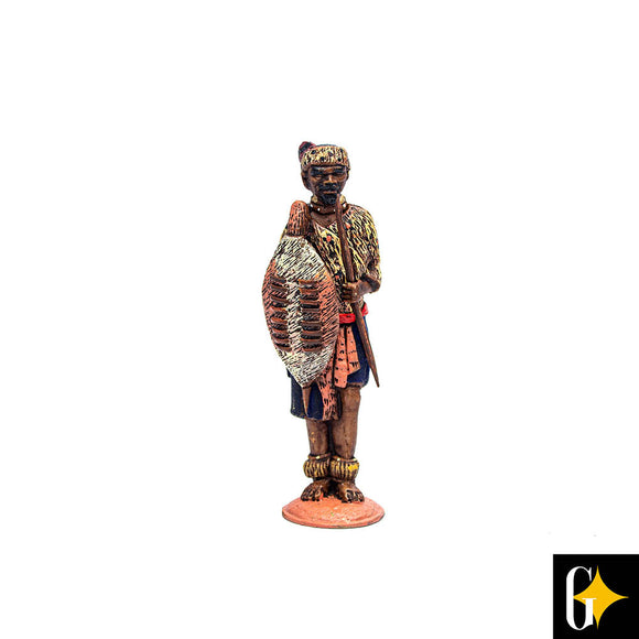 Top view of the Zulu chief figurine. Buy this African gift now.