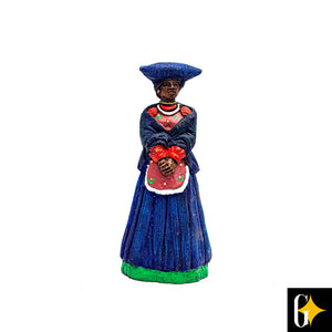 Front view of the Herero woman in blue figurine. Buy this African gift now.