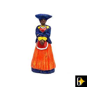 Front view of the Herero woman in orange figurine. Buy this African gift now.