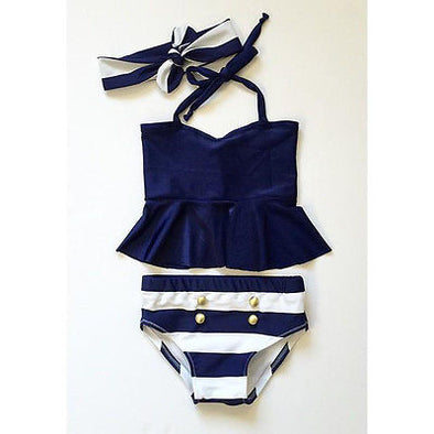 Kid Navy & Striped Swimsuit (2-7 גיל)