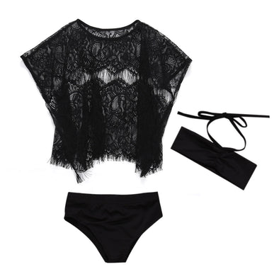 Black Cover up & Swimsuit Set (1-6 גיל)