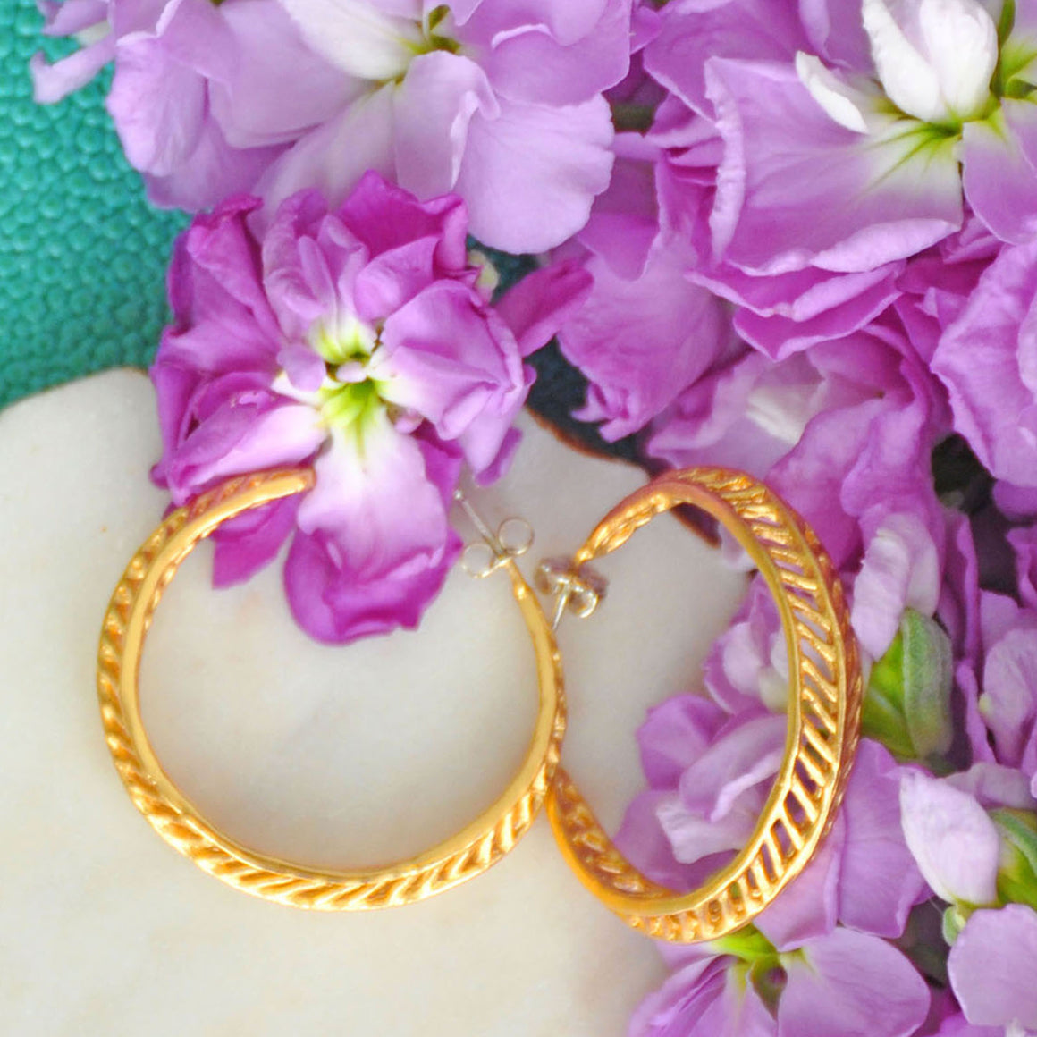 Chevron Leaf Hoop Earrings - 24K Gold Plated