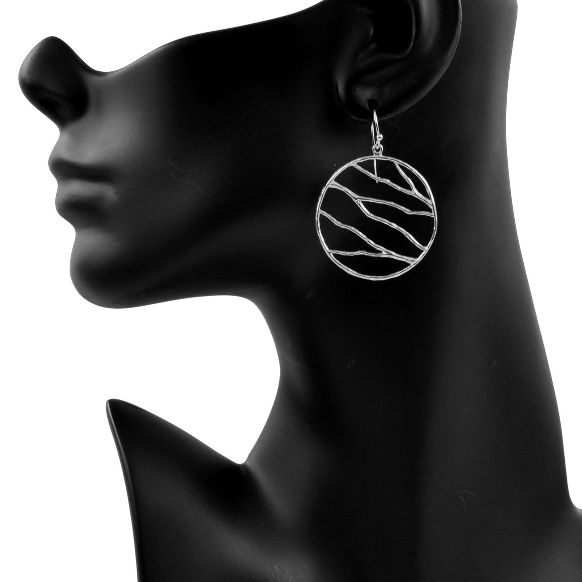 Intricate Branches Circle Earrings - Platinum Silver