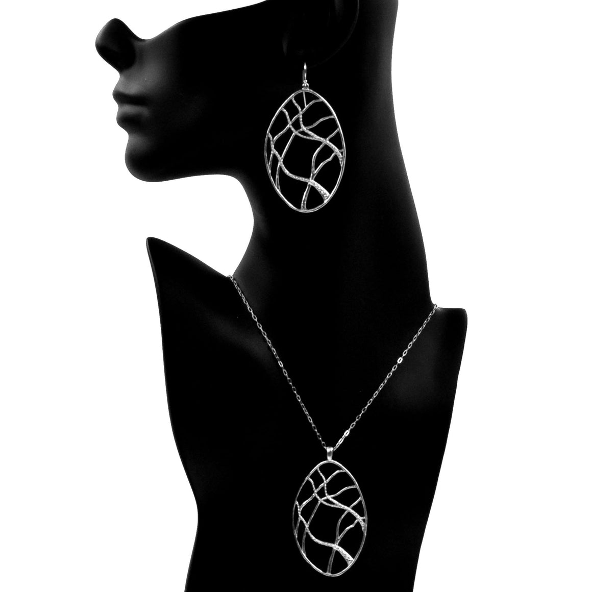 Intricate Branches Oval Necklace - Platinum Silver