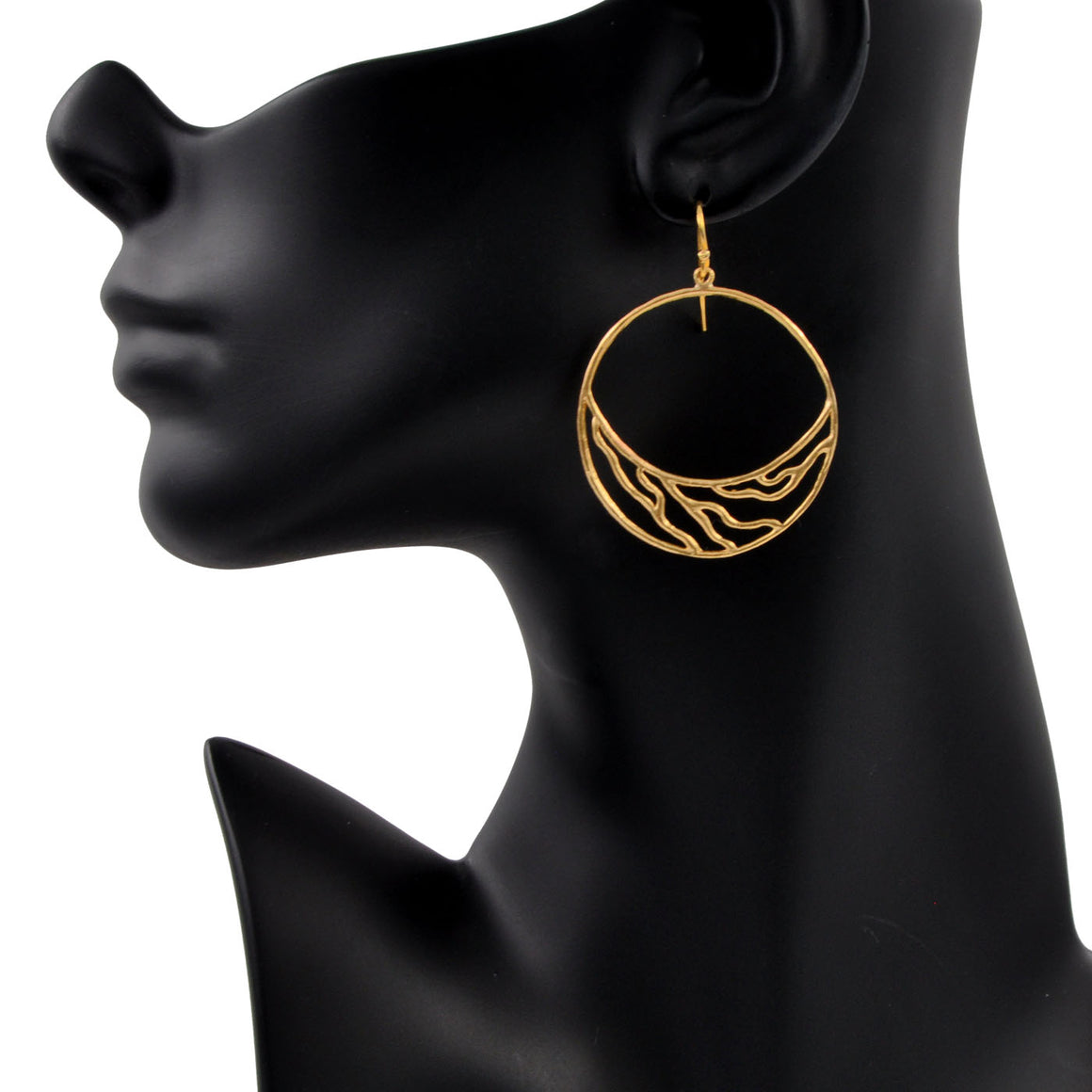 Intricate Branches Crescent Hoop Earrings - 24K Gold Plated