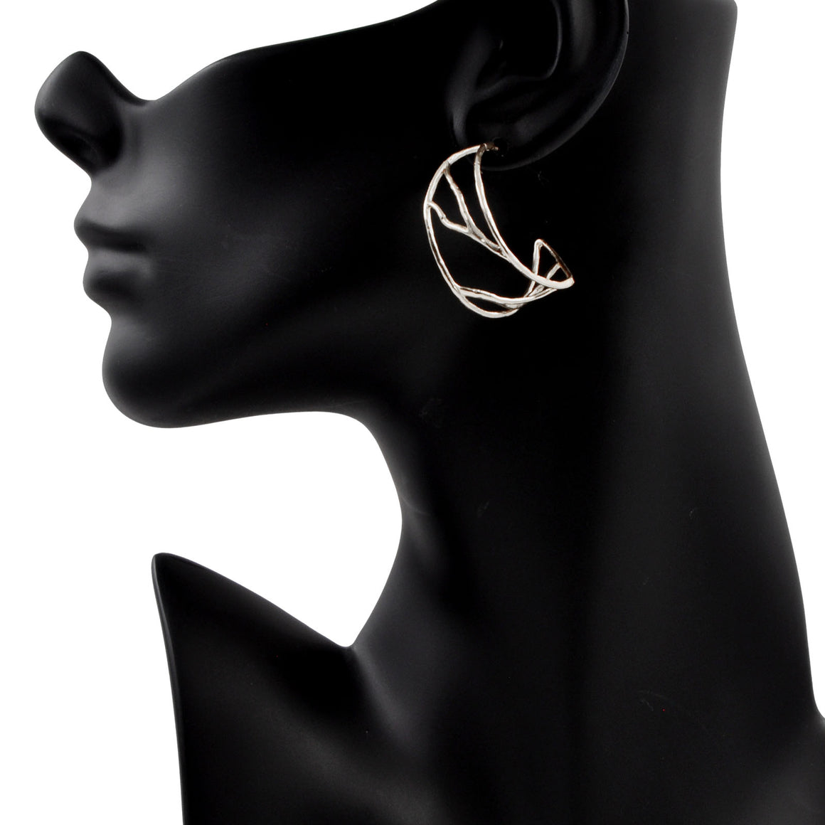 Intricate Branches Hoop Earrings - Platinum Silver
