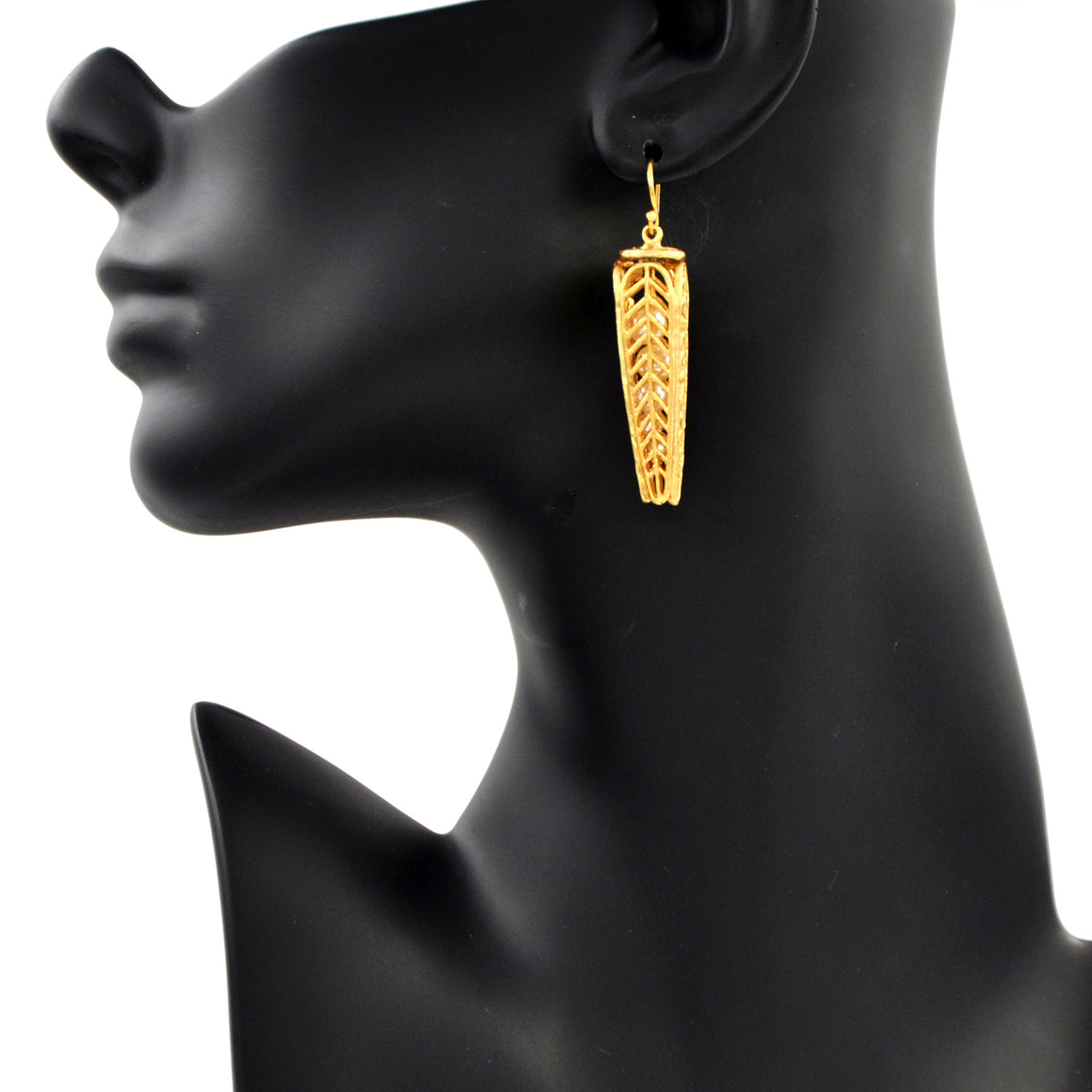Caged Pearl Chevron Leaf Earrings - 24K Gold Plated