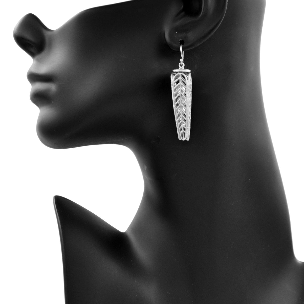 Caged Pearl Chevron Leaf Earrings - Platinum Silver
