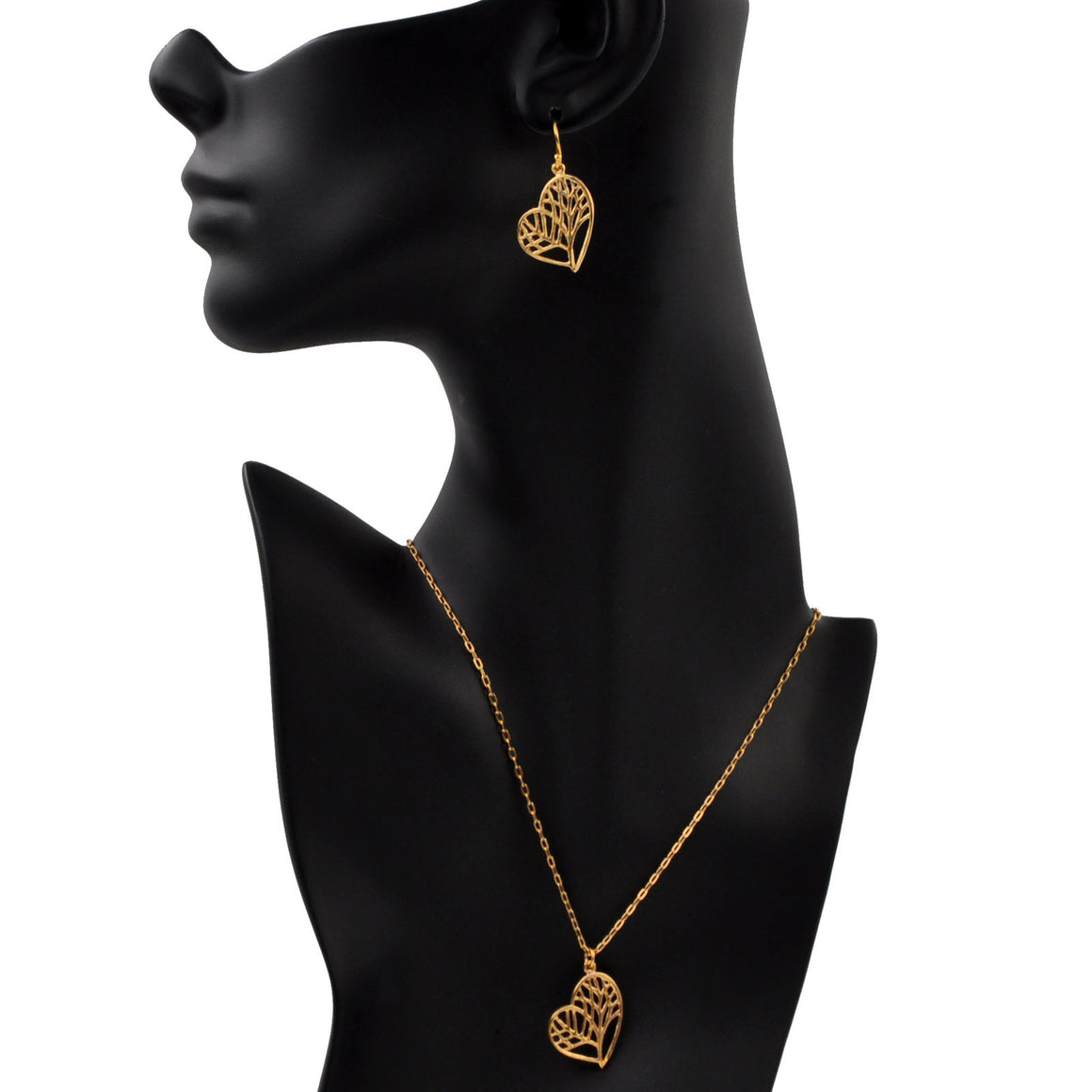 Tree of Life Heart Necklace - 24K Gold Plated