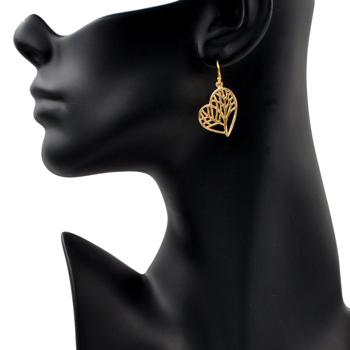 Tree of Life Heart Earrings - 24K Gold Plated