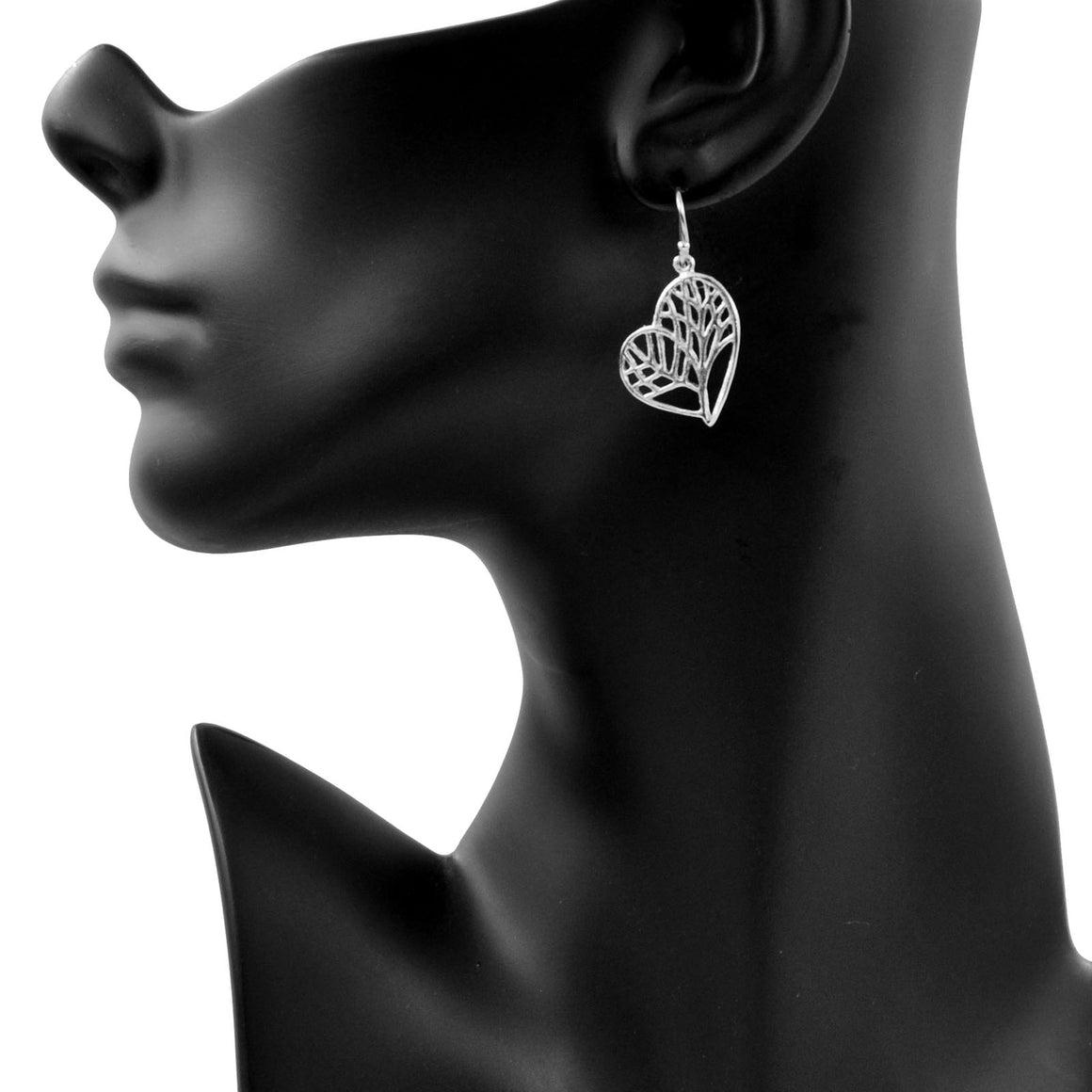 Tree of Life Heart Earrings - Platinum Silver