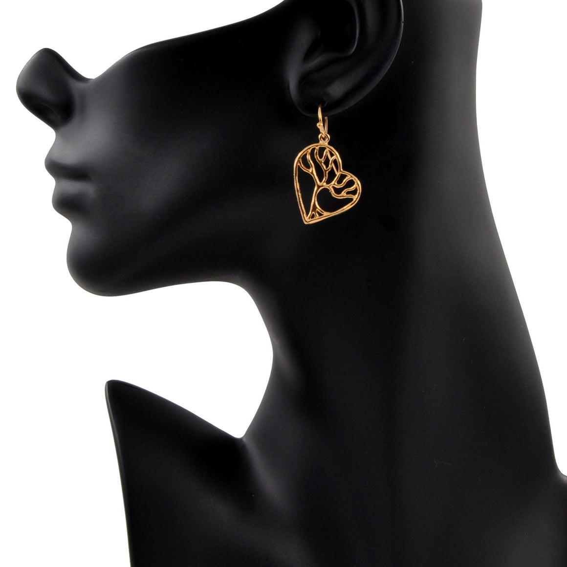 Tree of Life Enchanted Heart Earrings - 24K Gold Plated