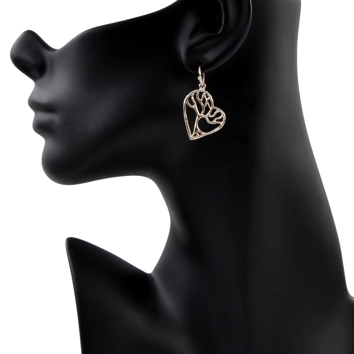 Tree of Life Enchanted Heart Earrings - Platinum Silver