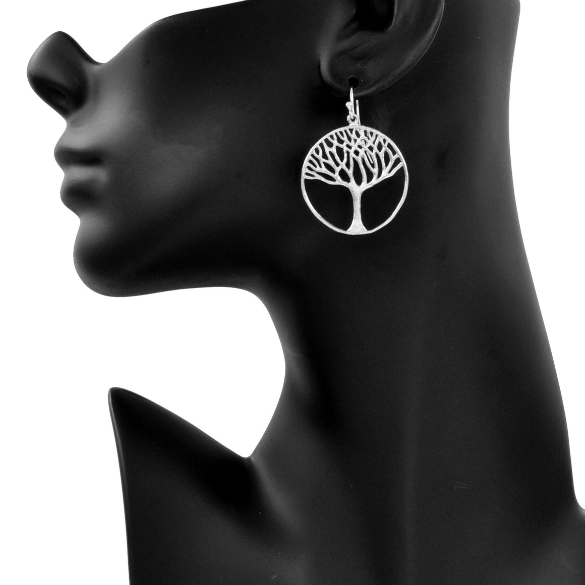 Tree of Life Earrings (Large) - Platinum Silver