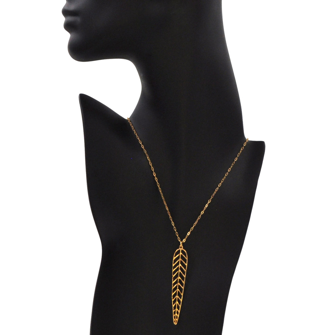 Chevron Leaf Necklace - 24K Gold Plated
