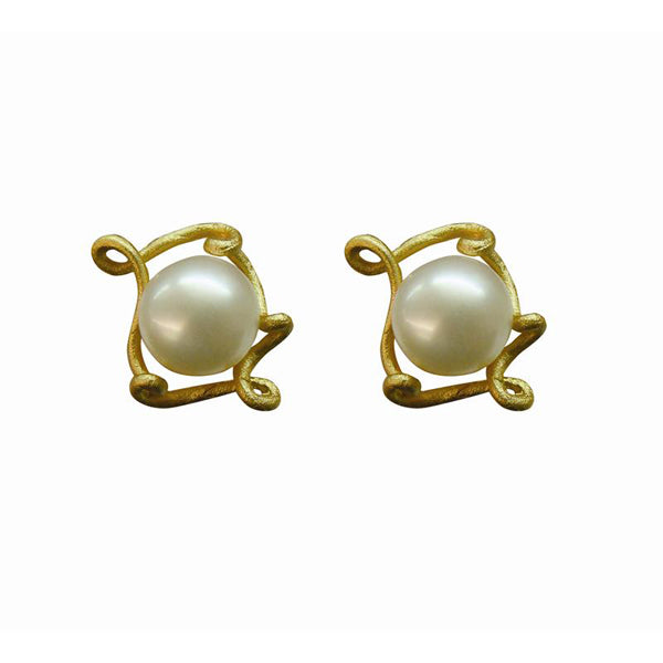 Peapod Earrings - 24K Gold Plated & Freshwater Pearls