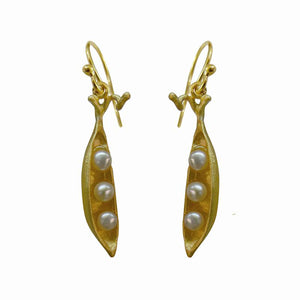 Peapod Earrings (3 Pearls) - 24K Gold Plated