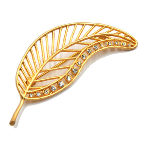 Birch Leaf Swarovski Pin - 24K Gold Plated