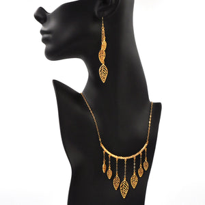 Birch Leaf Collar Necklace - 24K Gold Plated