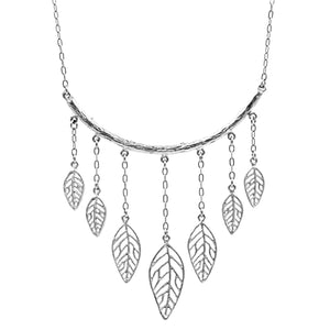 Birch Leaf Collar Necklace - Platinum Silver