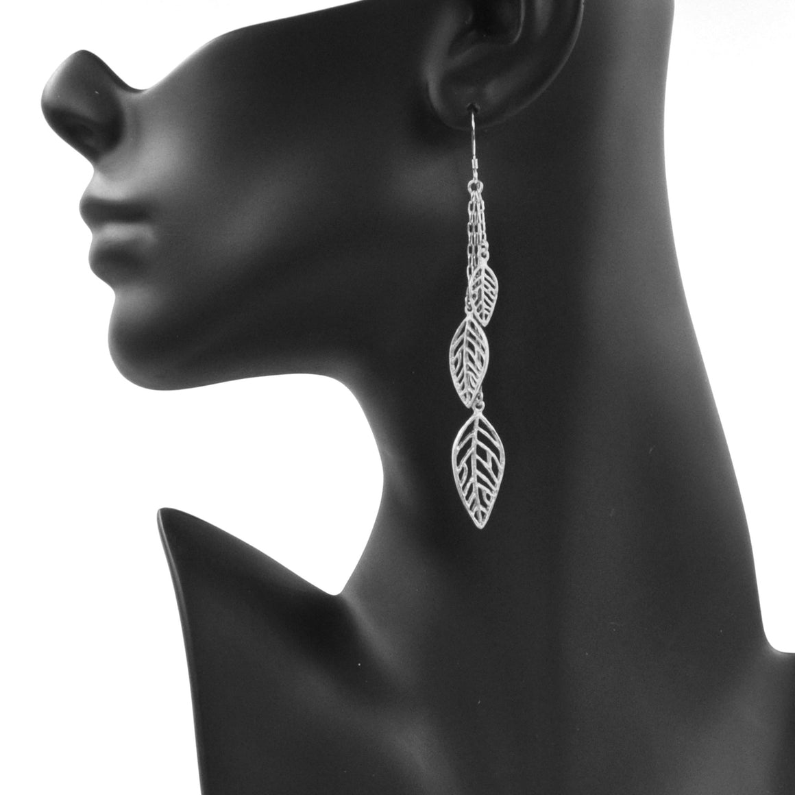 Birch Leaf Earrings - Platinum Silver