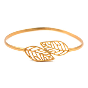 Birch Leaf Bangle Bracelet - 24K Gold Plated