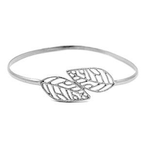 Birch Leaf Bangle Bracelet - Platinum Silver