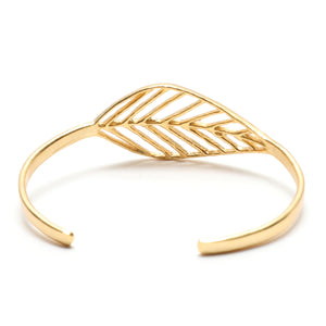 Birch Leaf Slim Cuff - 24K Gold Plated