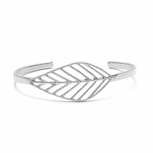 Birch Leaf Slim Cuff - Platinum Silver