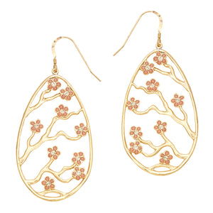 Cherry Blossom Earrings - 24K Gold Plated