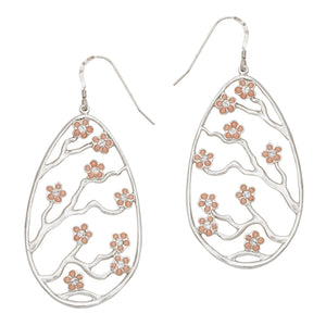 Cherry Blossom Earrings - Platinum Silver