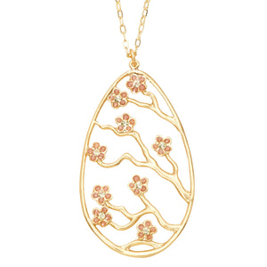 Cherry Blossom Pendant - 24K Gold Plated