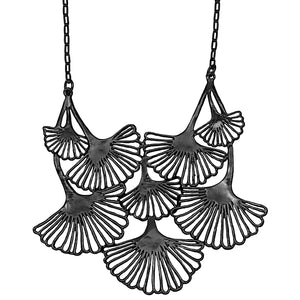 Ginkgo Cascading Leaf Collar Necklace - Gunmetal