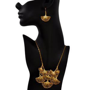 Ginkgo Cascading Leaf Collar Necklace - 24K Gold Plated