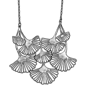 Ginkgo Cascading Leaf Collar Necklace - Platinum Silver