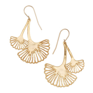 Ginkgo Cascading Leaf Earrings - 24K Gold Plated