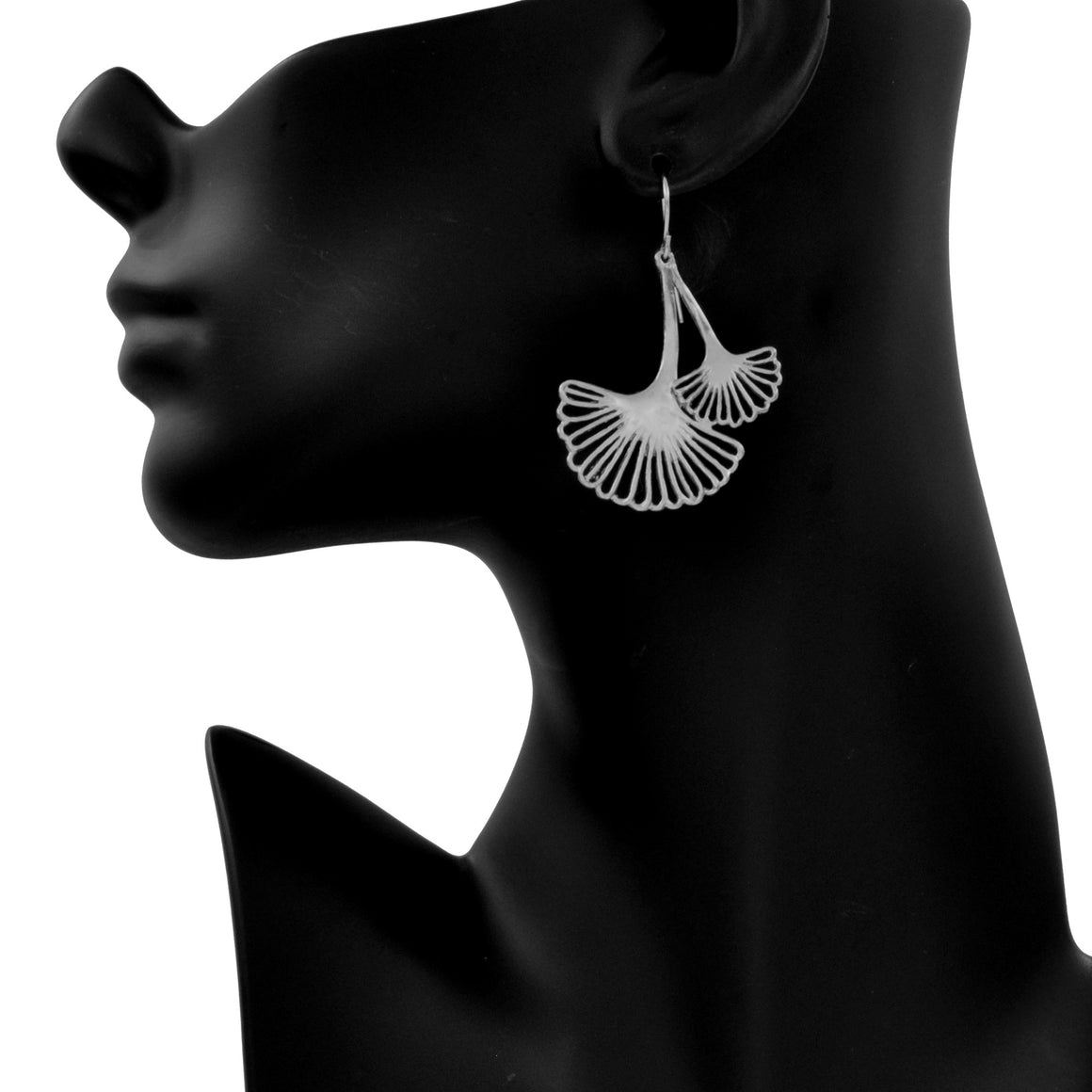 Ginkgo Cascading Leaf Earrings - Platinum Silver