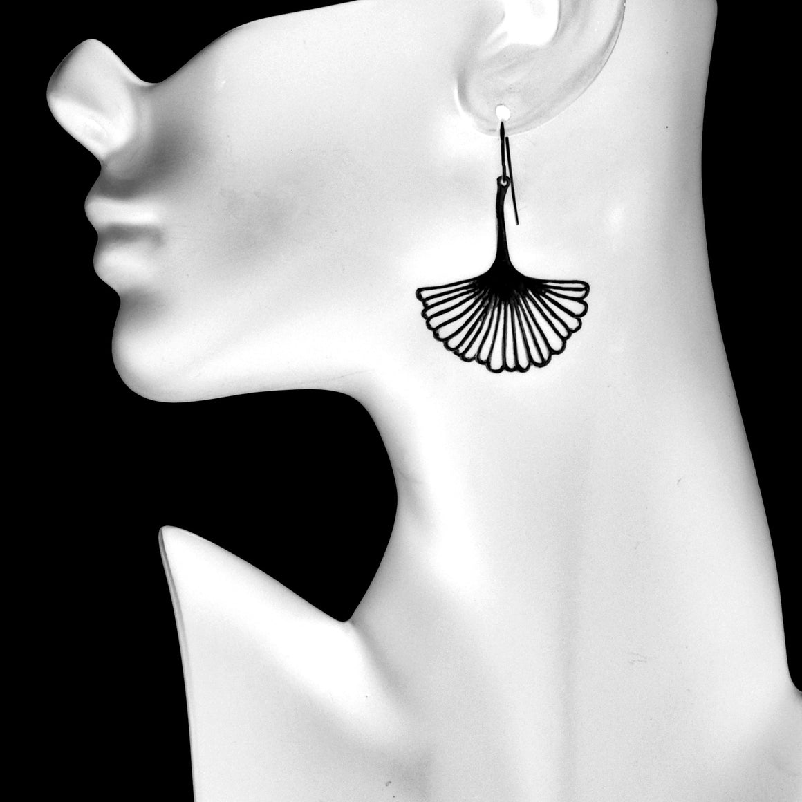 Ginkgo Leaf Earrings (Large) - Gunmetal