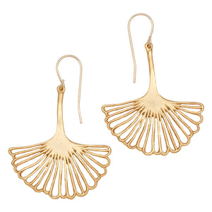 Ginkgo Leaf Earrings (Large) - 24K Gold Plated
