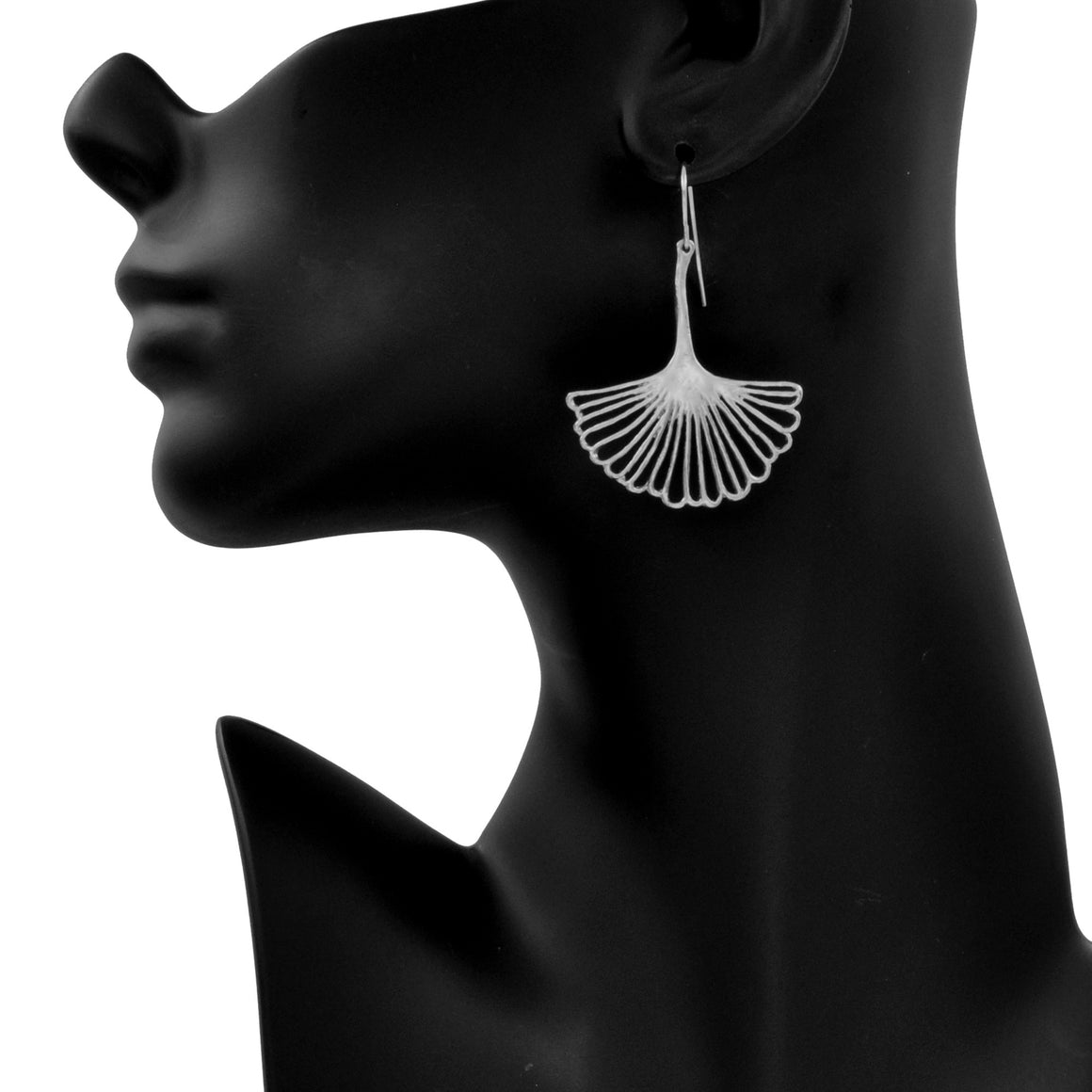 Ginkgo Leaf Earrings (Large) - Platinum Silver