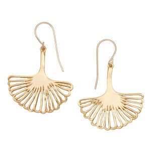 Ginkgo Leaf Earrings (Medium) - 24K Gold Plated