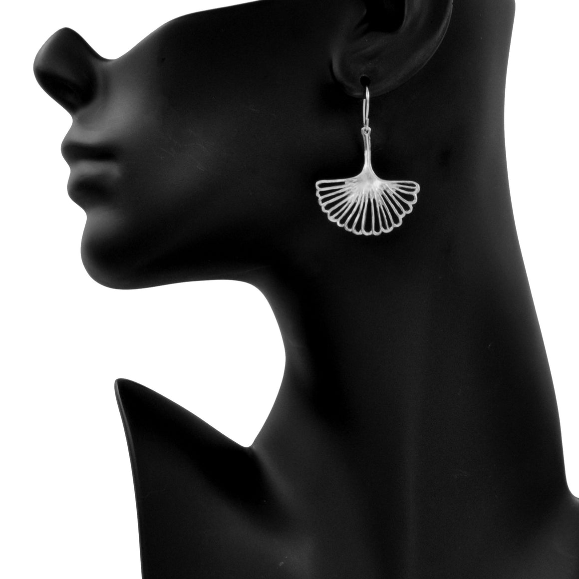 Ginkgo Leaf Earrings (Medium) - Platinum Silver