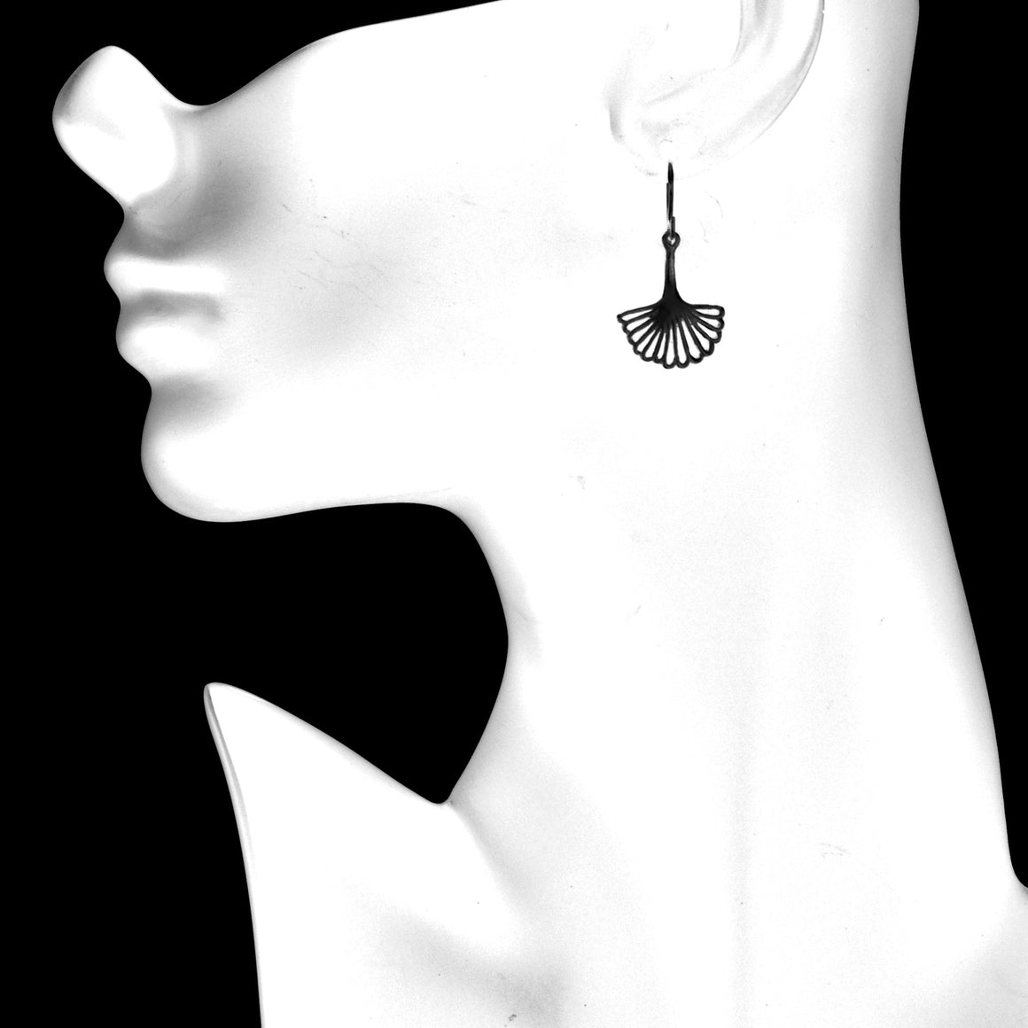 Ginkgo Leaf Earrings (Small) - Gunmetal