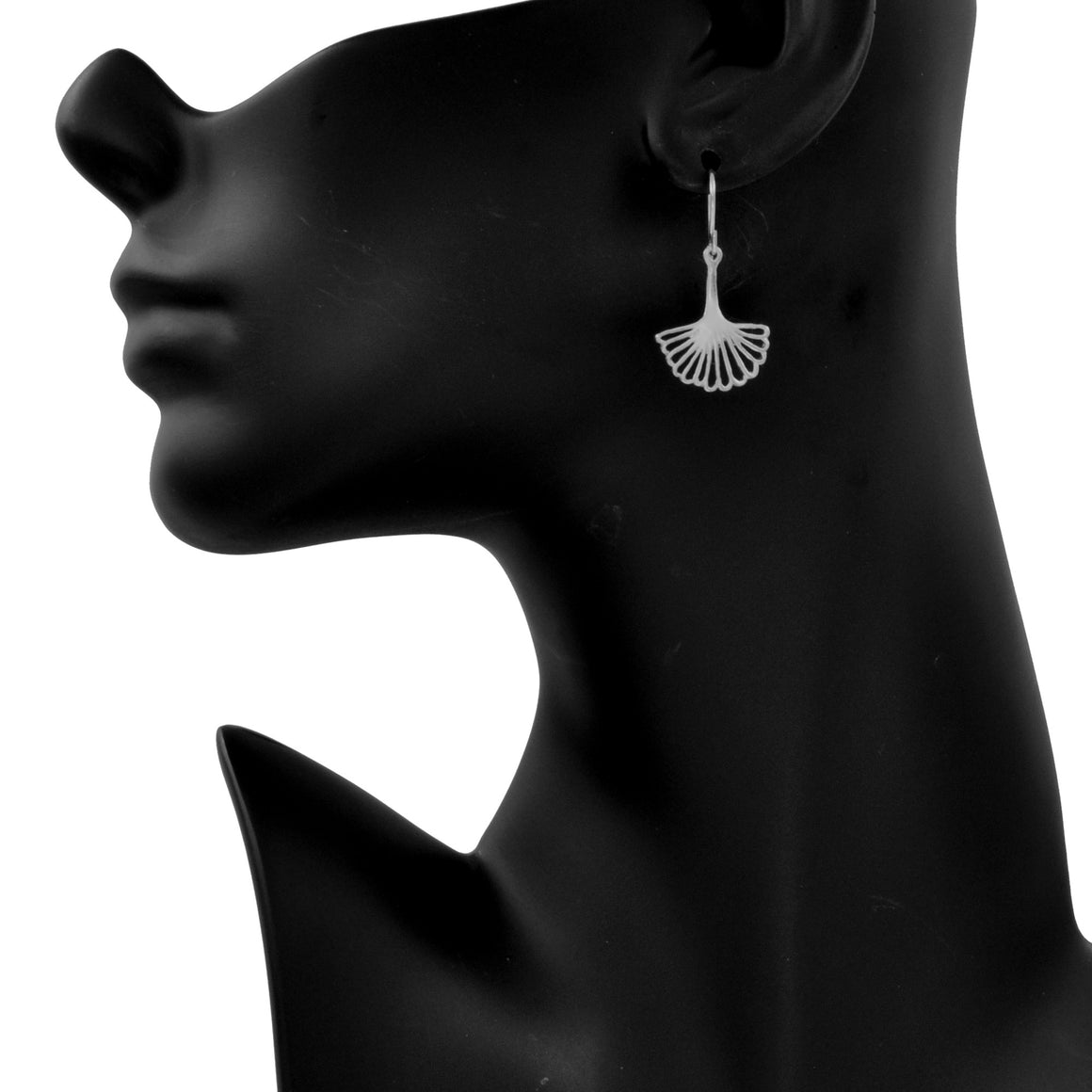 Ginkgo Leaf Earrings (Small) - Platinum Silver