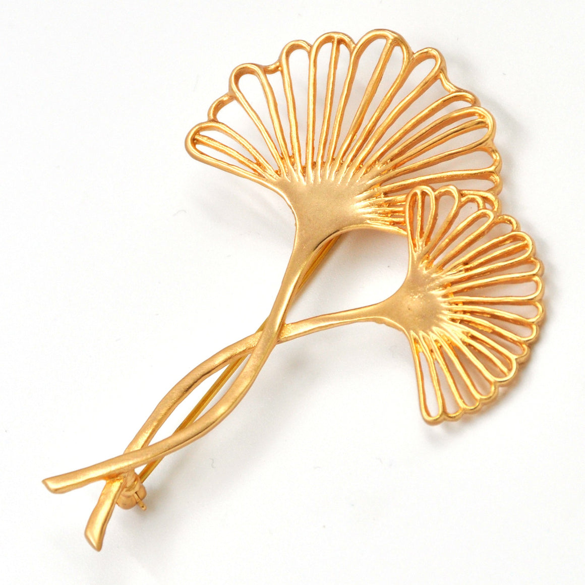 Ginkgo Two-Leaf Pin - 24K Gold Plated